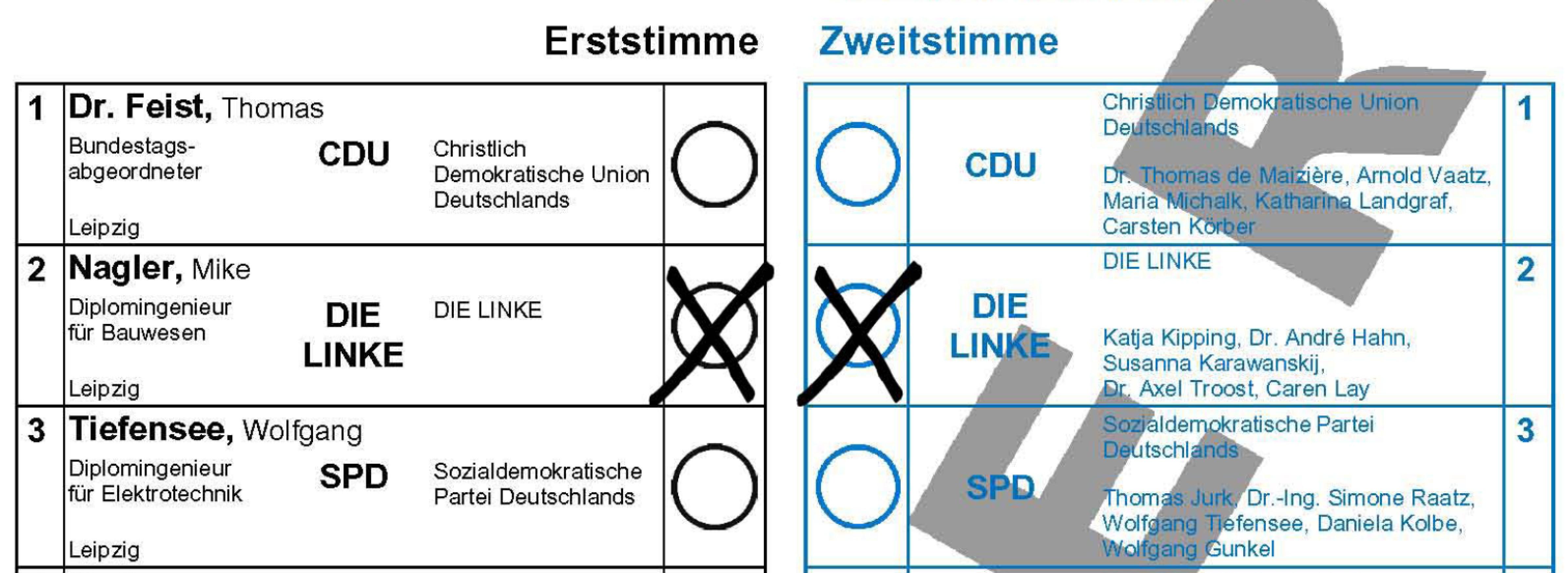 Stimmzettel Bundestagswahl 2013 Leipzig Wk153_muster