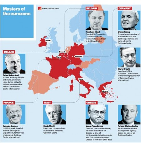 "Source: The Independent, Freitag, 18. November 2011, ""What price the new democracy? Goldman Sachs conquers Europe"""