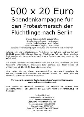 Protestmarsch nach Berlin - Gegen Abschiebung, gegen Residenzpflicht - für Menschenrecht und Bewegungsfreiheit