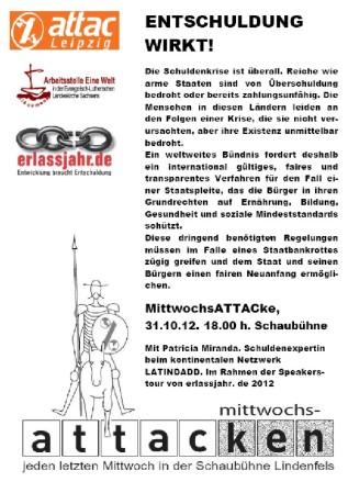 Attac Leipzig Erlassjahr Arbeitsstelle Eine Welt - Entschuldung wirkt