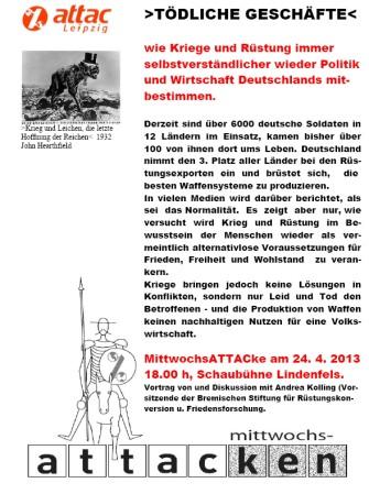 2013-04-24 attac Leipzig mittwochsattacke krieg Andrea Kolling