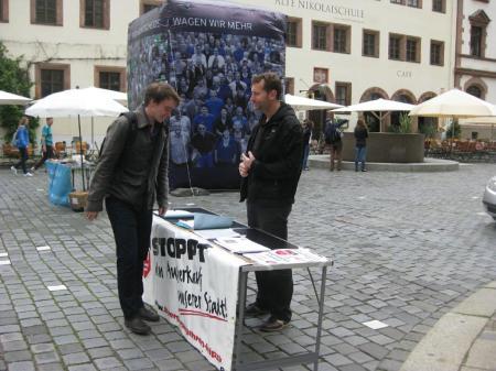 2013-06-28 Aktion Volksentscheid Leipzig Mehr Demokratie BI Sammelstand Mike Nagler