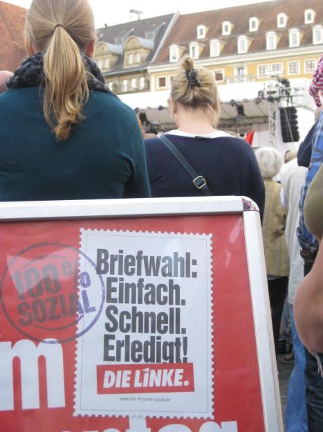 2013-08-28 Wahlkampfauftakt DIE LINKE Leipzig-Marktplatz Briefwahl Bundestagswahl