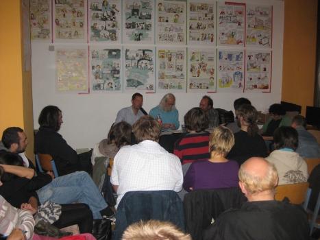 2013-09-18 Buchvorstellung  Grundeinkommen Werner Raetz Ronald Blaschke Mike Nagler Leipzig linxxnet